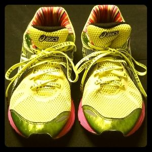 Asics bright yellow and pink running shoes